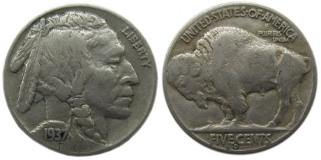 """1937 Buffalo Nickel with """"D"""" mint mark in circulated condition, showing signs of normal wear"""